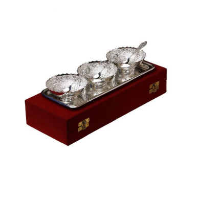 Buy Silver Plated Brass Bowl Set of 7 Pcs