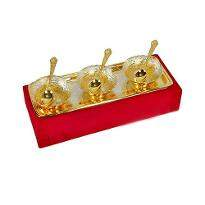 Silver & Gold Plated Brass Bowl Set of 7 Pcs