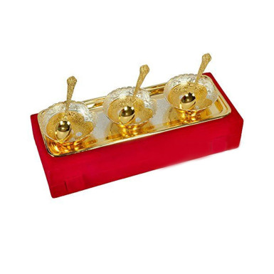 Buy Silver & Gold Plated Brass Bowl Set of 7 Pcs
