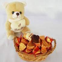 Teddy Bear Valentine Chocolate Basket