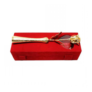 Buy Gold Plated Rose with Red Velvet Box with vase