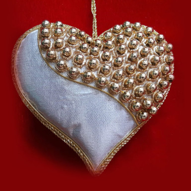 Buy Silver & Gold Heart Shaped Decoration