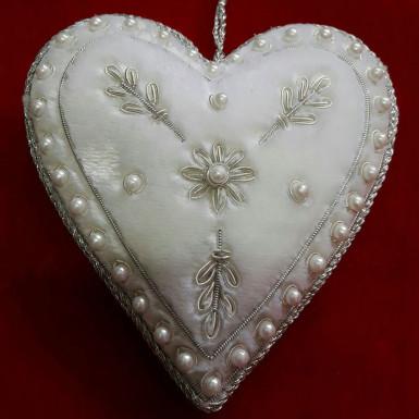 Buy Silver Designer Heart Shape Christmas Decor