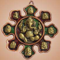 White Metal Wall Hanging Ganesha Combo