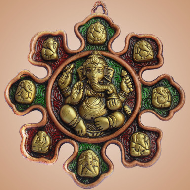 Buy White Metal Wall Hanging Ganesha Combo