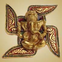 White Metal Swastika Ganesha