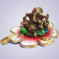 White Metal Ganesha with Lotus