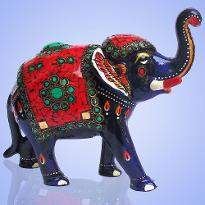 Elephant with Red Chip Work