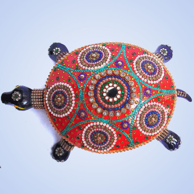 Buy White Metal Tortoise with Stone Work