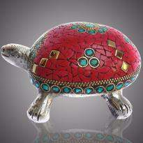 White Metal Tortoise with Stone