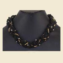 Black Beaded Pearl Necklace