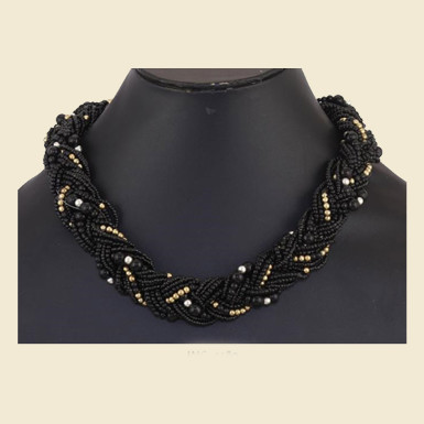 Buy Black Beaded Pearl Necklace