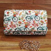 Colorful Cycle and Flowers Print Clutch