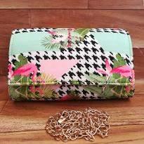 Pink Flamingo Art Clutch