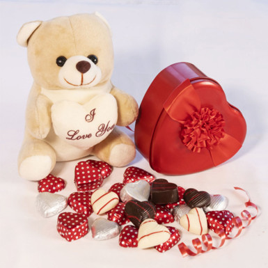 Buy Cute Teddy with Chocolates
