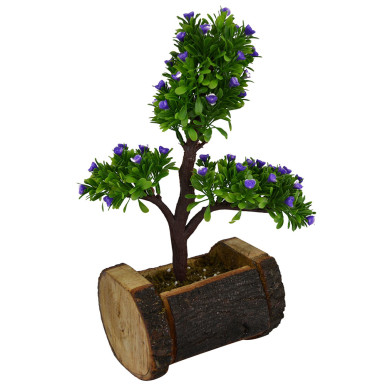 Buy Artificial Bonsai Plant in Wood Buckle Pot