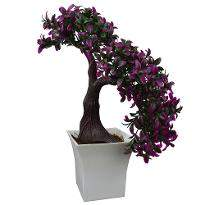 Artificial Tilted Bonsai in Pot