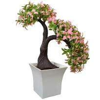 Artificial Tilted Bonsai in Ruby Pot