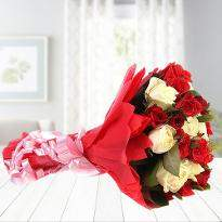 Red And White Roses Bunch
