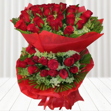 Buy Red Roses in Two tier with Red Packing