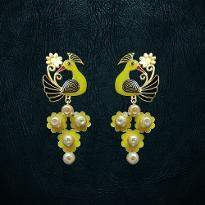 Yellow Peacock Earrings