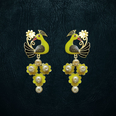 Buy Yellow Peacock Earrings