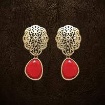 Net Design Red Earrings