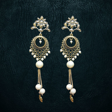 Buy White Moti Earrings