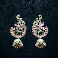 Light Pink Peacock Earrings