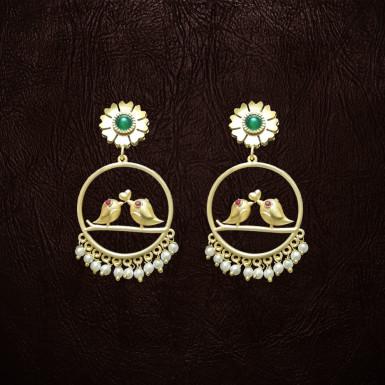 Buy Green Bid Bird Earrings