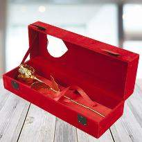 Gold Plated Rose with Red Velvet Box