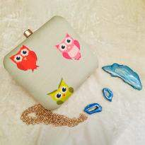 Cute Owls Print Clutch