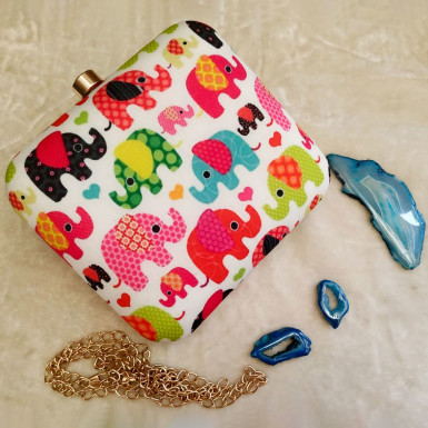 Buy Baby Elephant Pattern Clutch