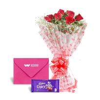 6 Roses 1 Card 1 Chocolate