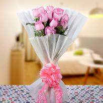 Hearty Wishes  A bunch of Pink Roses