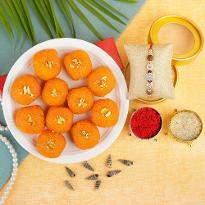 Delicious Motichoor Laddu with Rakhi
