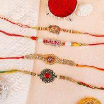 Stone Studded Red & Golden Rakhi Set