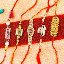 Colorful set of 5 Rakhi
