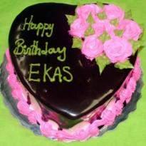 Eggless Heart Shape 1 Kg Chocolate Cake