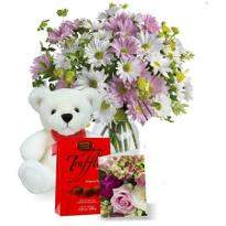 Flowers With Chocolate And Teddy