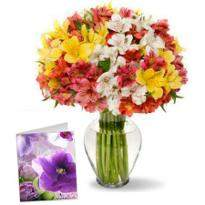 Alstroemeria Bouquet And Greeting Card