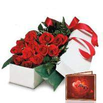 Red Roses Gift Box And Greeting Card