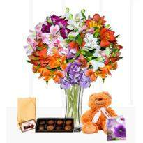 Flowers with chocolate teddy