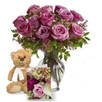 Lavender Roses With Teddy And Card
