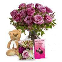 Lavender Roses With Teddy And Chocolate