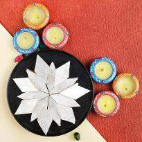 Diyas with Sweet Delights