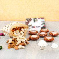 Dry fruits with gorgeous diyas