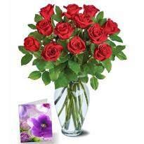 Dozen roses n card