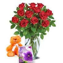 Dozen Roses n Teddy Bear