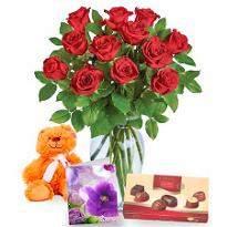 Dozen Roses  teddy Bear chocolate